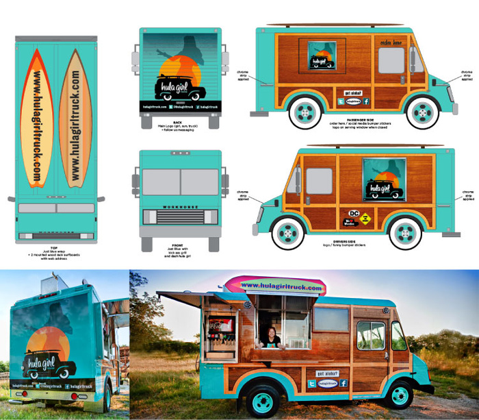 Hula girl food truck branding grits grids for Design your food truck