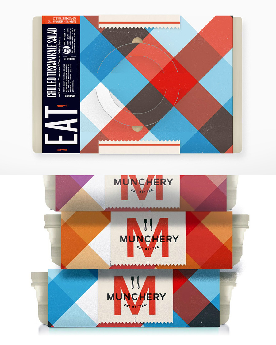 Munchery food service package design and branding