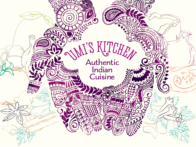 Um's Kitchen indian food packaging design branding
