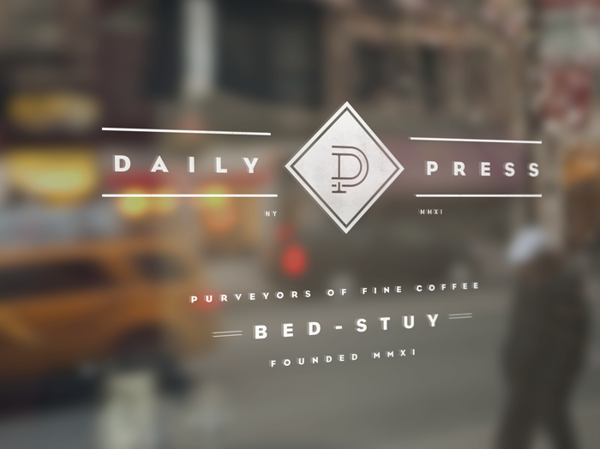 Daily Press coffee shop branding by Matthew Delbridge