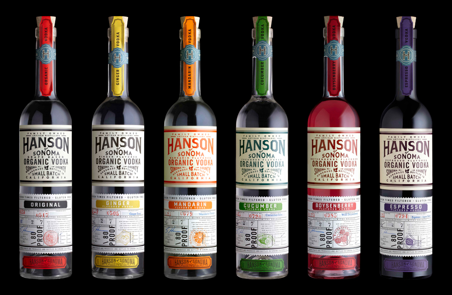 Hanson of Sonoma vodka package design by Stranger and Stranger