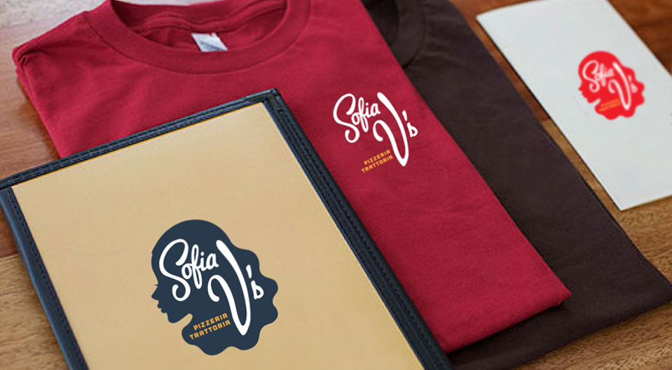 Sofia V's pizza shop restaurant branding by The Working Assembly