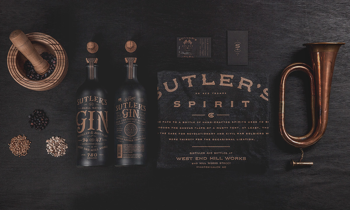 Sutler's Spirit Company gin packaging and branding by Device Creative