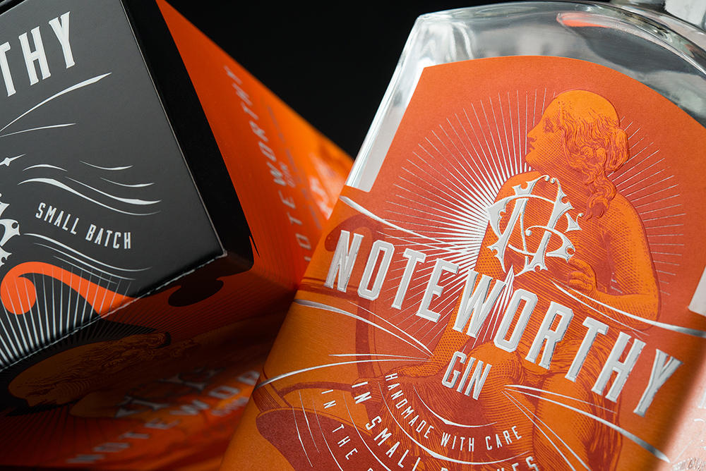 Noteworthy gin branding and package design by Hired Gun Creative in Canada