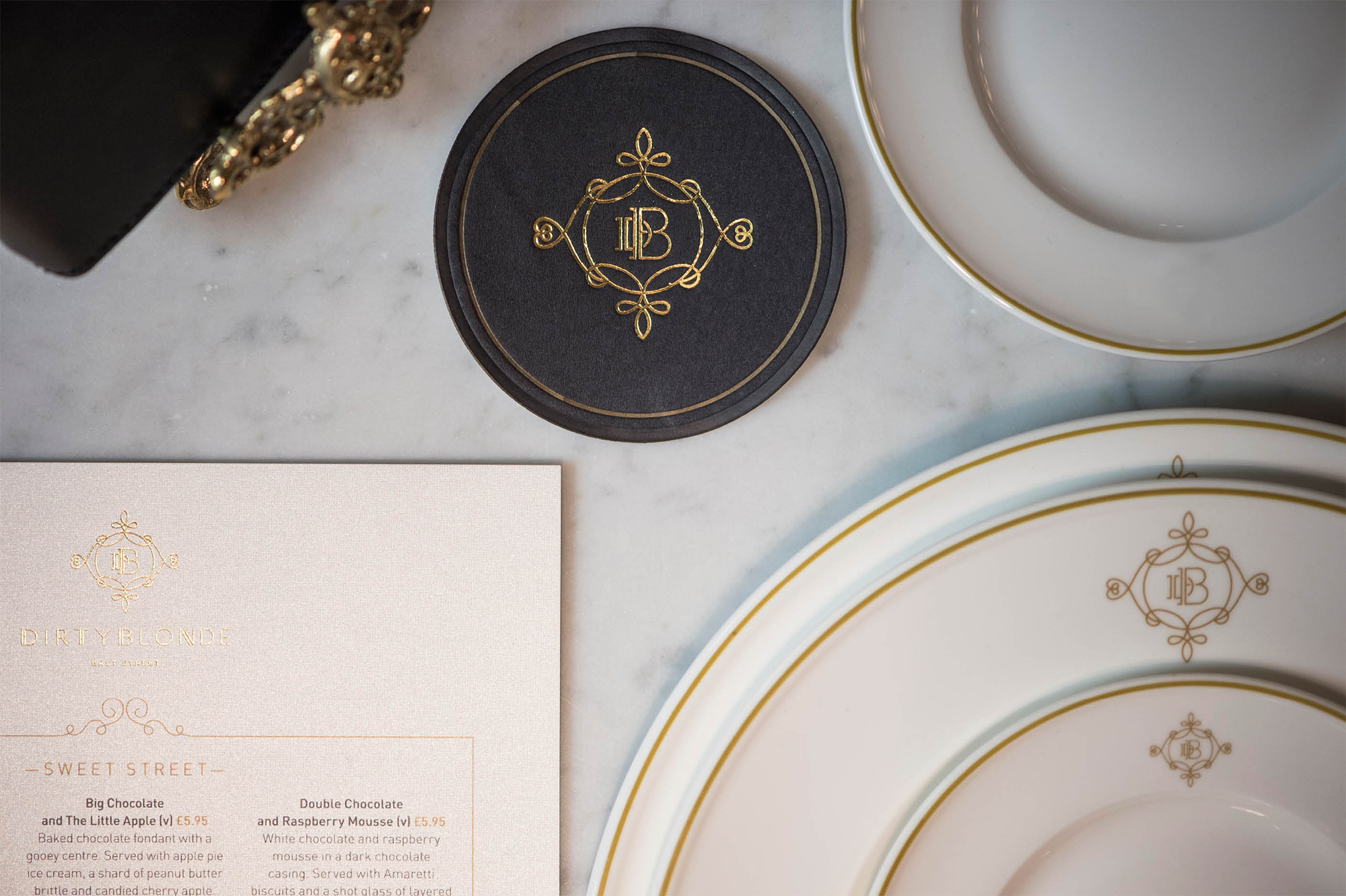 Dirty Blonde restaurant branding by Salad Creative in United Kingdom