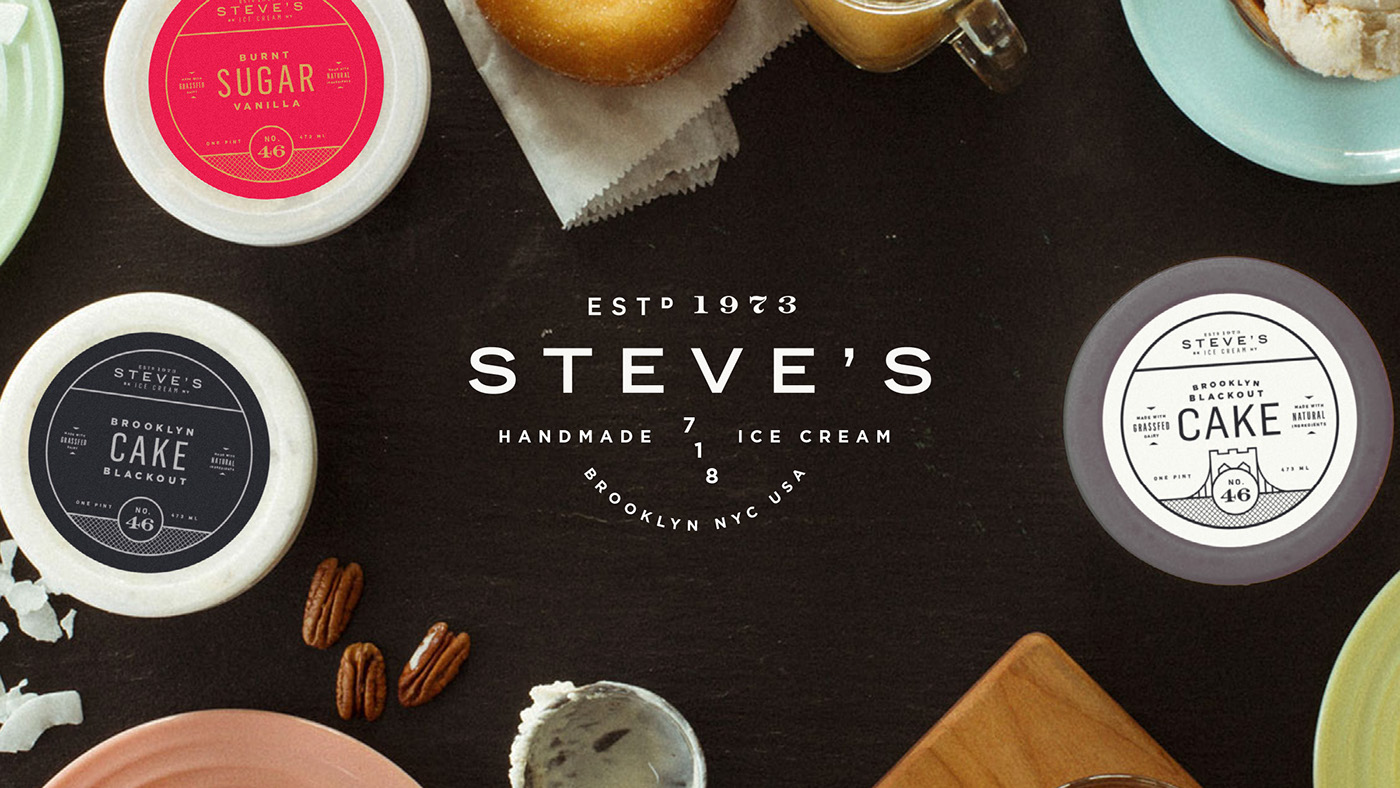 Steve's Ice Cream packaging design branding by Chris Allen in New York
