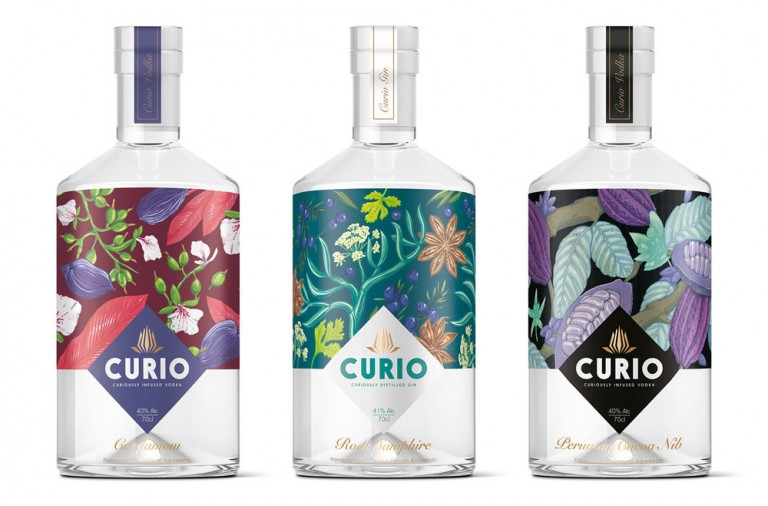 Curio spirits branding by Kingdom & Sparrow in the United Kingdom