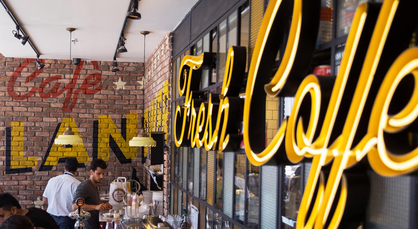 landwer's cafe branding - grits + grids