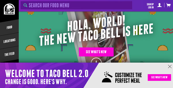 Taco Bell website redesign and others