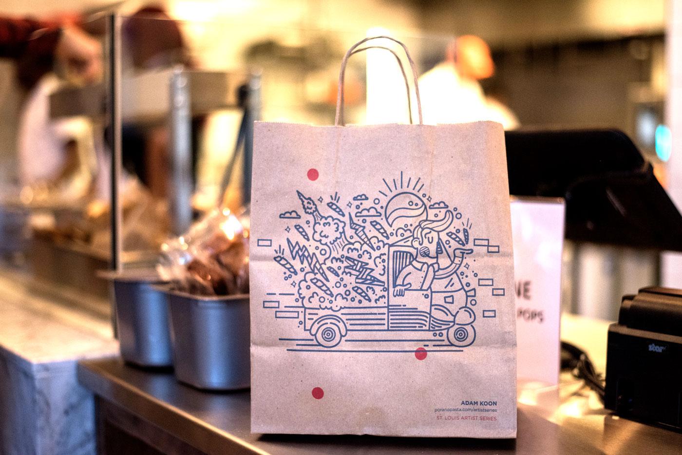 Porano Pasta fast casual restaurant branding by Atomicdust in St Louis, MI