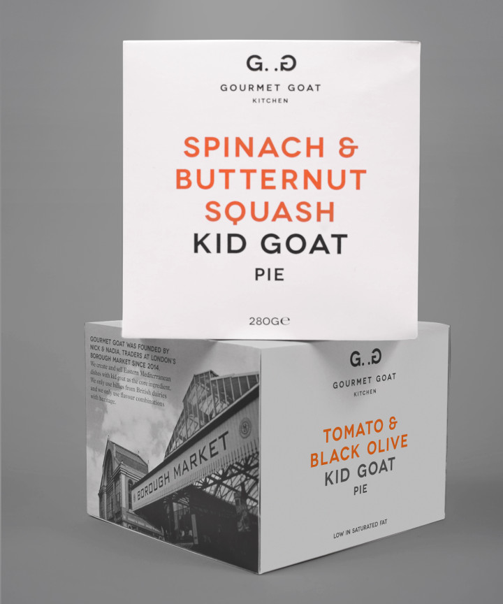 Gourmet Goat Kitchen restaurant branding and food packaging design by Interabang in United Kingdom UK