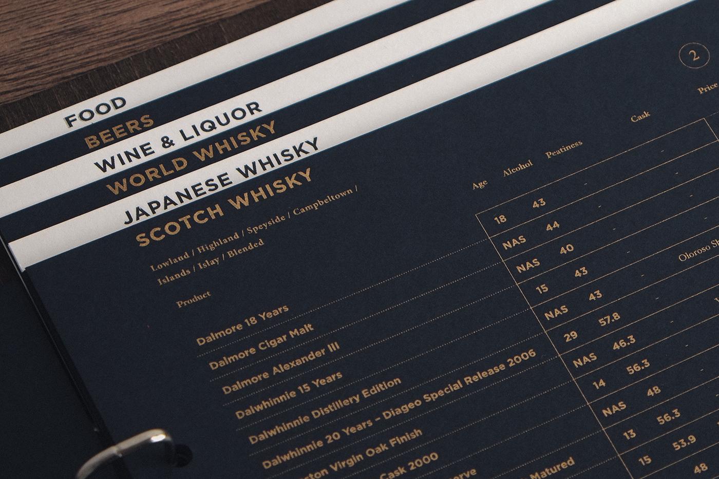 Bar Ginger restaurant branding and menu design by Vita Mak