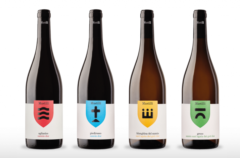 Mustilli wine packaging and label design branding by NJU Communications in Eboli, Italy