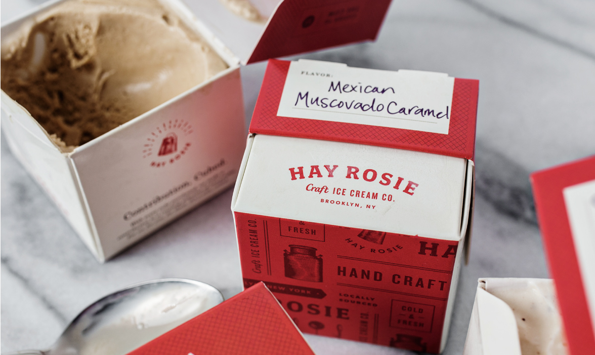 Hay Rosie craft ice cream branding and packaging design by Studio Nudge in Charleston, SC
