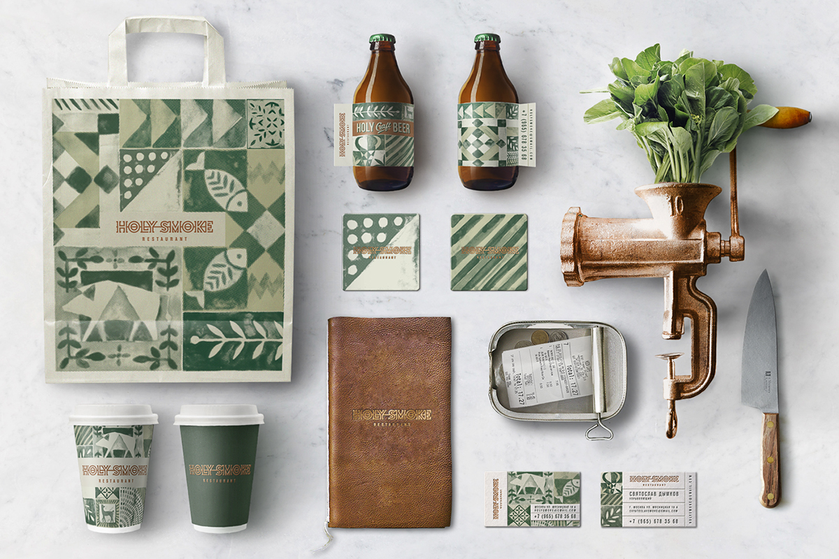 Holy Smoke restaurant and beer branding by Bureau Bumblebee in Russian Federation
