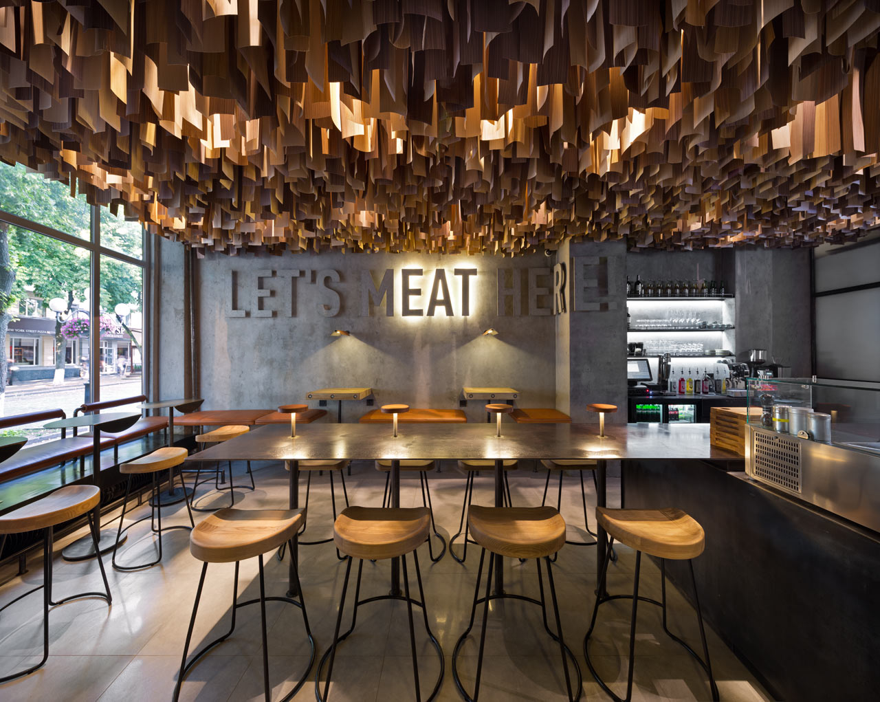 Shade burger restaurant branding interior design grits for Arredamento stile underground