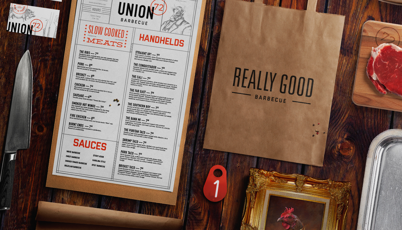 Union 72 BBQ restaurant branding by Hype Group in Florida