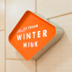 Winter Milk ice cream shop restaurant branding and design by Anagrama in Mexico