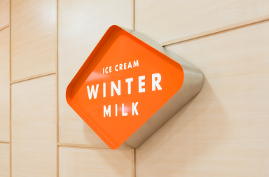 Winter Milk ice cream shop restaurant branding and design by Anagrama in Mexico