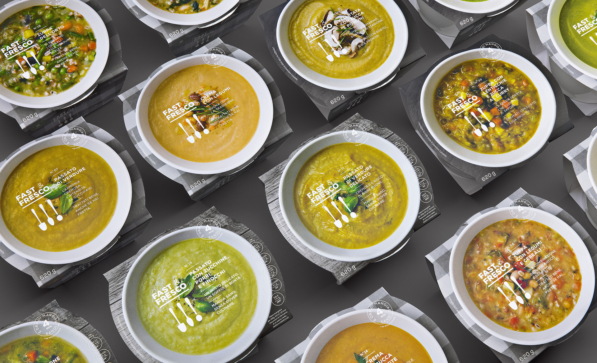 Fast Fresco soup food packaging design CPG branding by Auge Design in Italy
