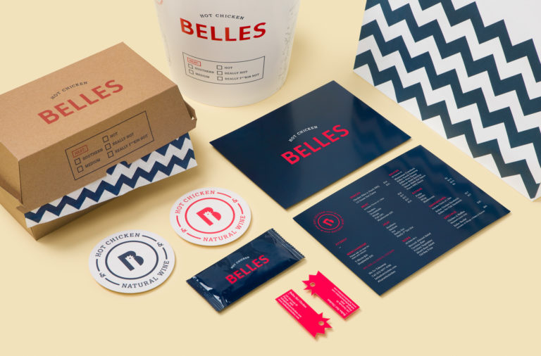 Belle's hot chicken fast casual restaurant branding and design by Erica Boucher in Australia