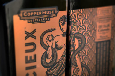 Copper Muse Distillery branding and packaging design by Emrich in Indianapolis, Indiana