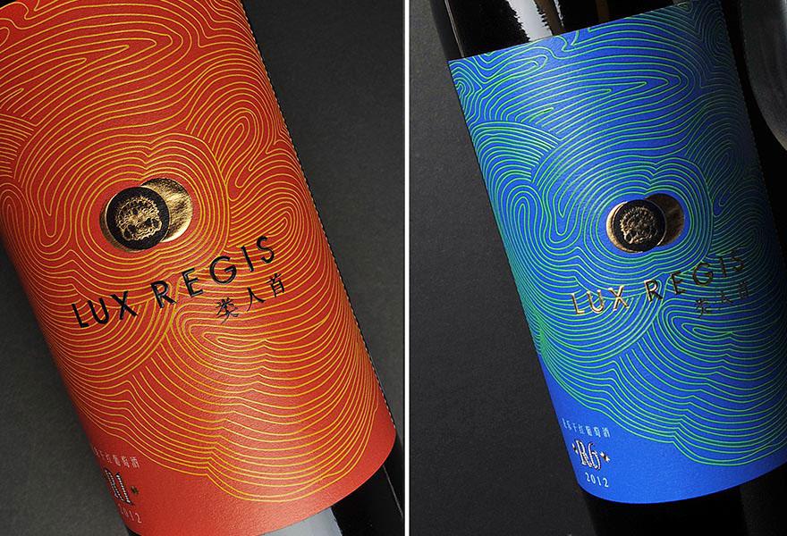 Lux Regis wine branding and package design by DesignDesk in Japan