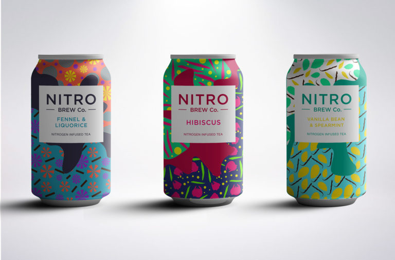 Nitro Brew Company tea branding and package design by Rachel Buchanan in Leeds, UK