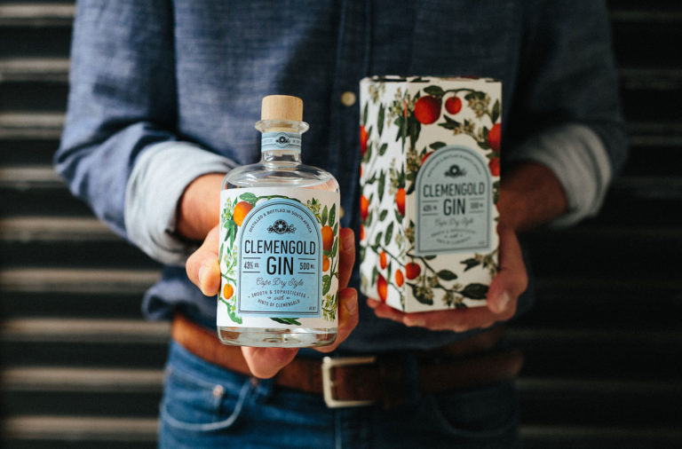 Clemengold gin packaging and branding by Fanakalo Studio in South Africa