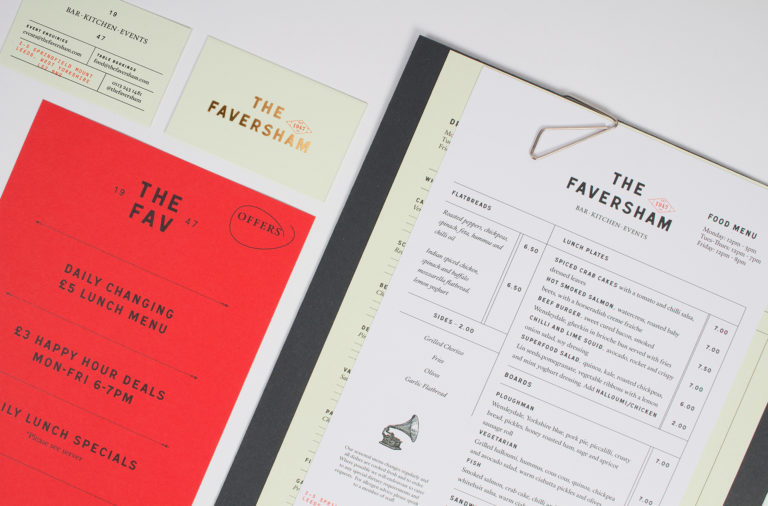 The Faversham restaurant branding design by Passport Design Bureau in Leeds, United Kingdom