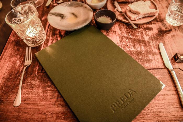 Breda restaurant amsterdam menu design