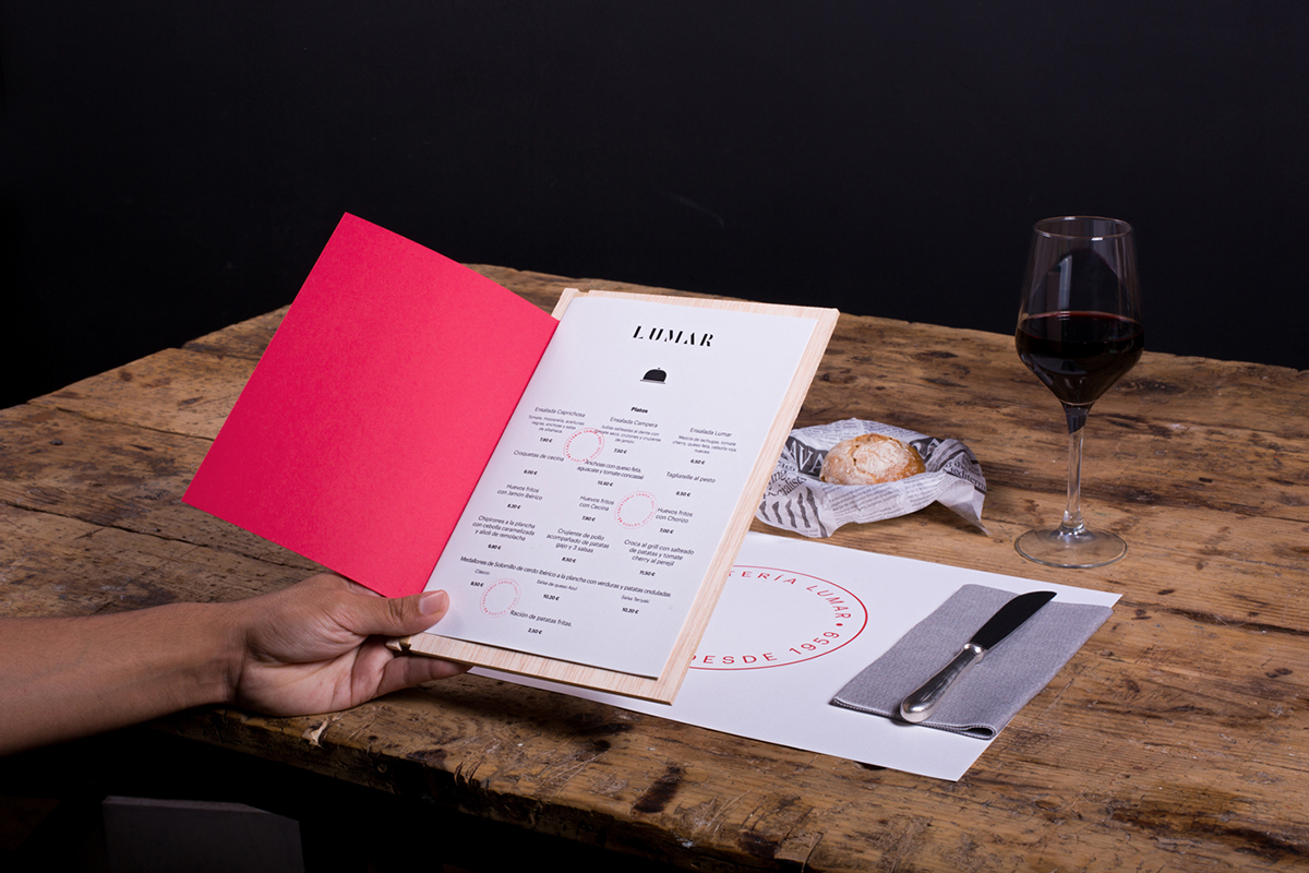 Cafeteria Lumar restaurant branding by Mariano Fiore in Spain