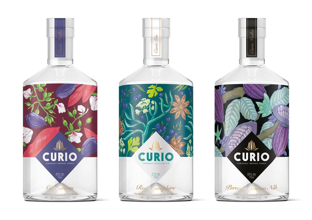Curio spirits branding by Kingdom & Sparrow in the United Kingdom