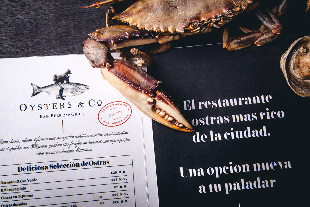 Oysters & Co seafood restaurant and bar branding and design by Monotypo in Mexico