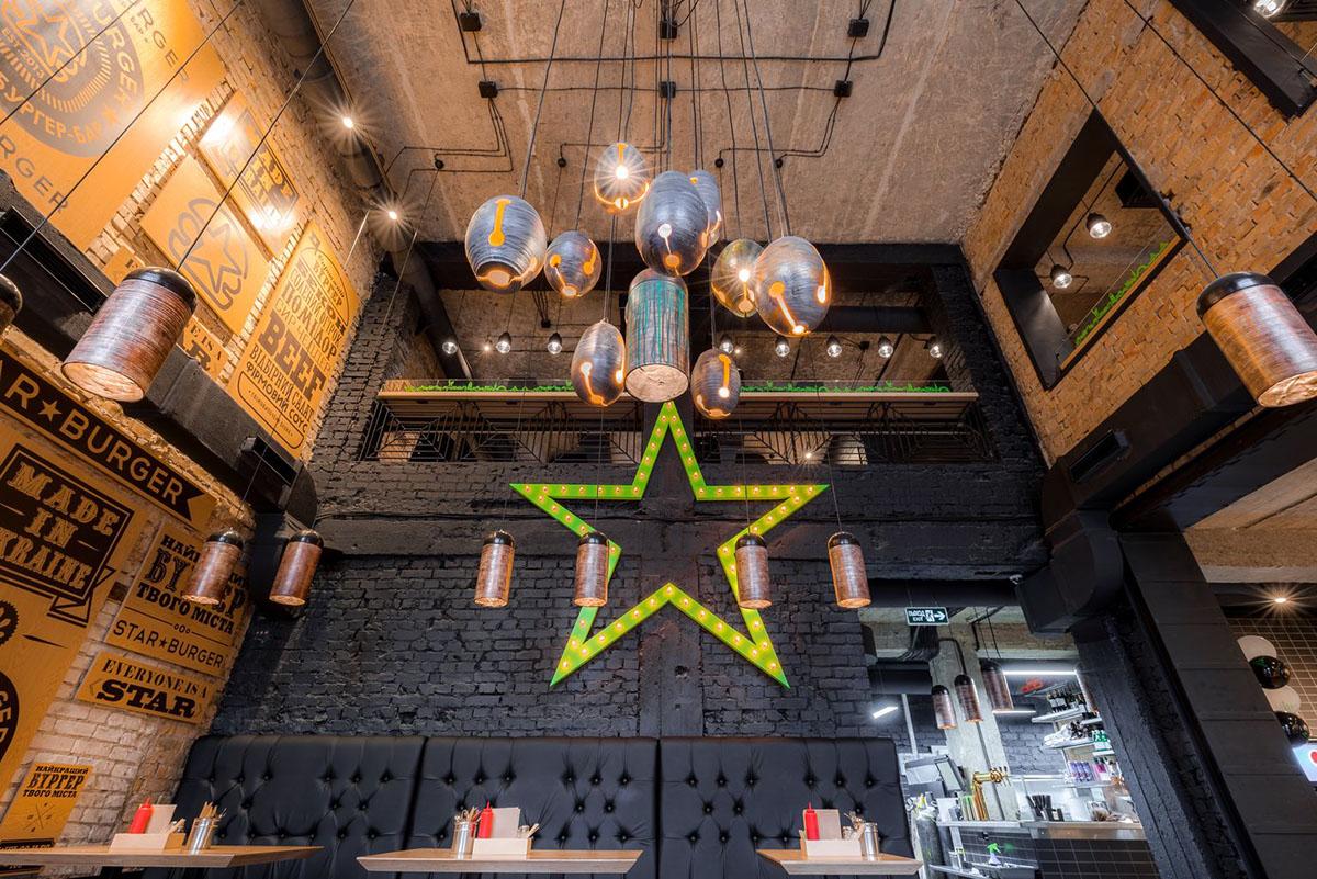 Star Burger restaurant interior design by Sergei Makhno Architects in Kiev Russia
