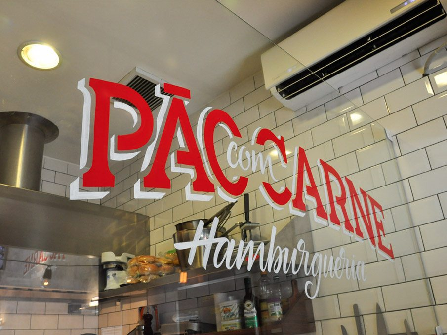 Pao Con Carne burger restaurant branding by Victor Tognoliio in Sao Paulo Brasil