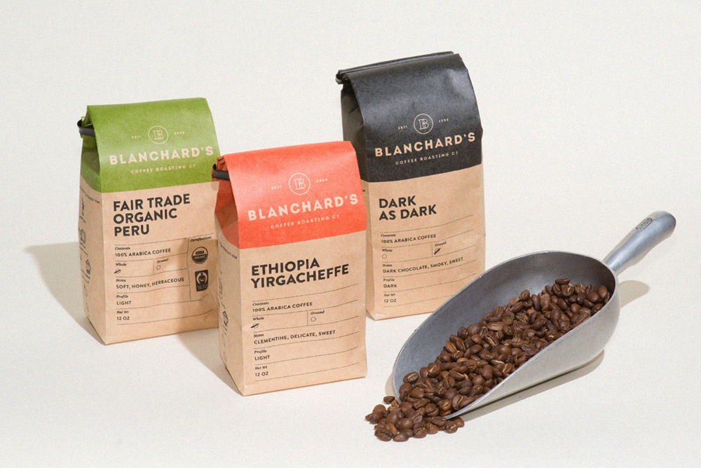 Blanchard's Coffee Company branding and package design by Skervin & Croft in Virginia, USA