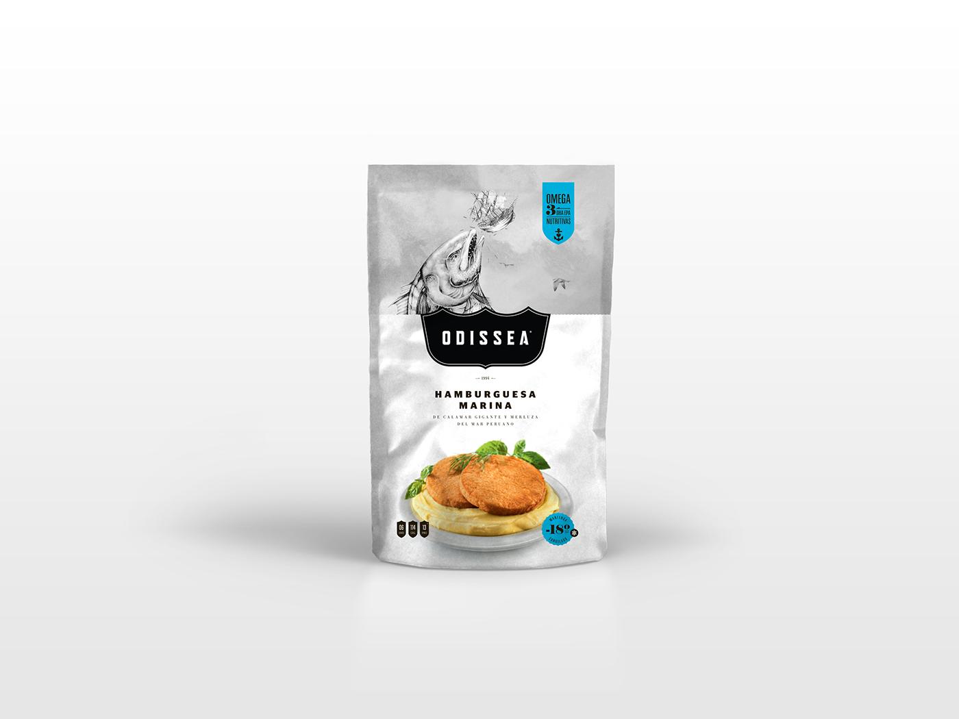 Odissea seafood packaging design CPG FMCG branding by The Brandlab in Lima, Peru