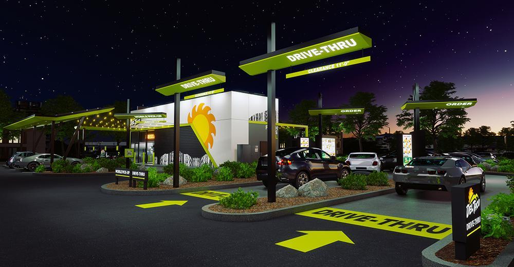 Del Taco concept design and prototype - drive through night