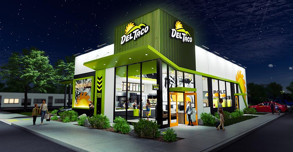 Del Taco concept design and prototype - front view night