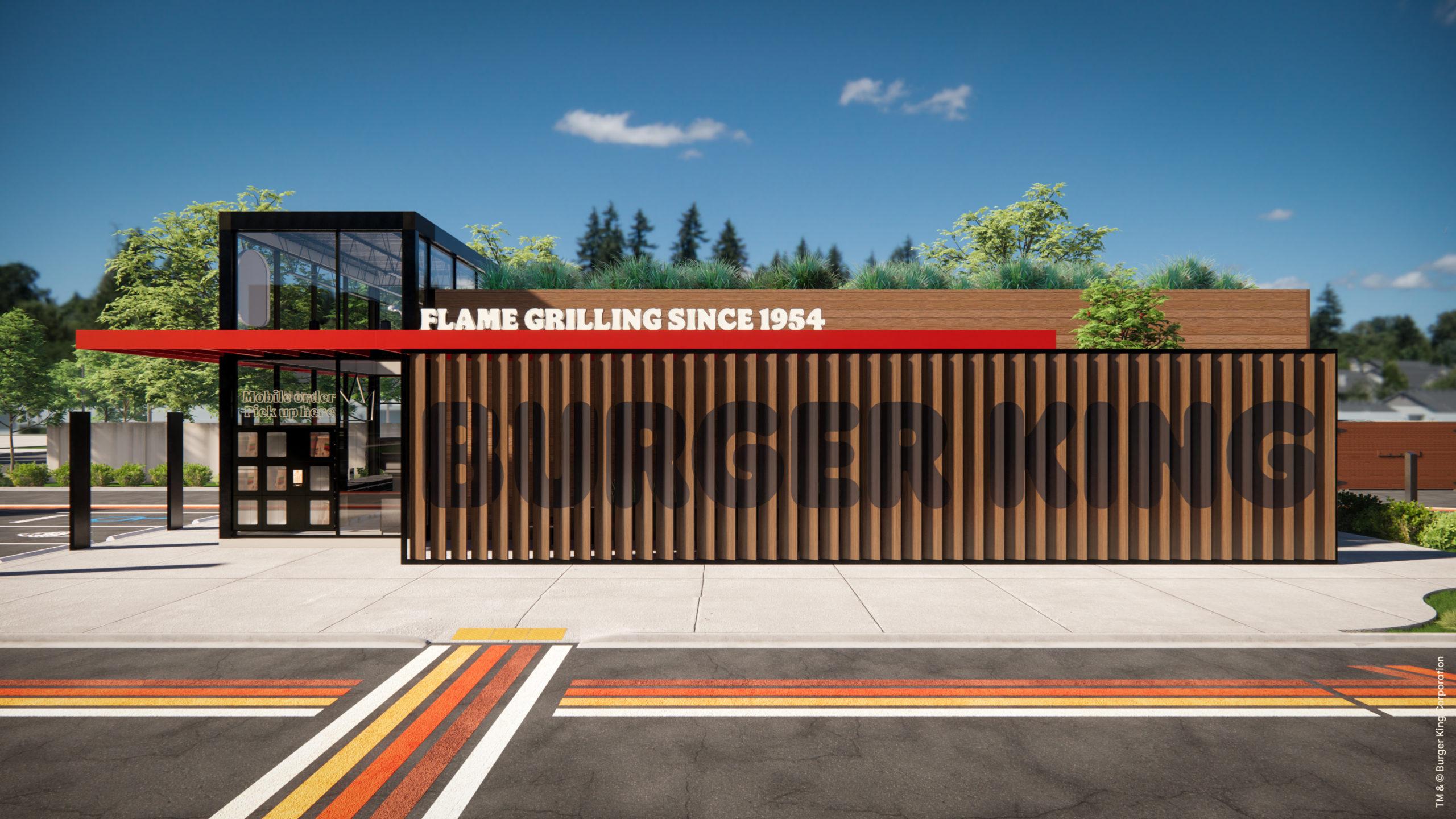 Burger King restaurant rebranding prototype design side view