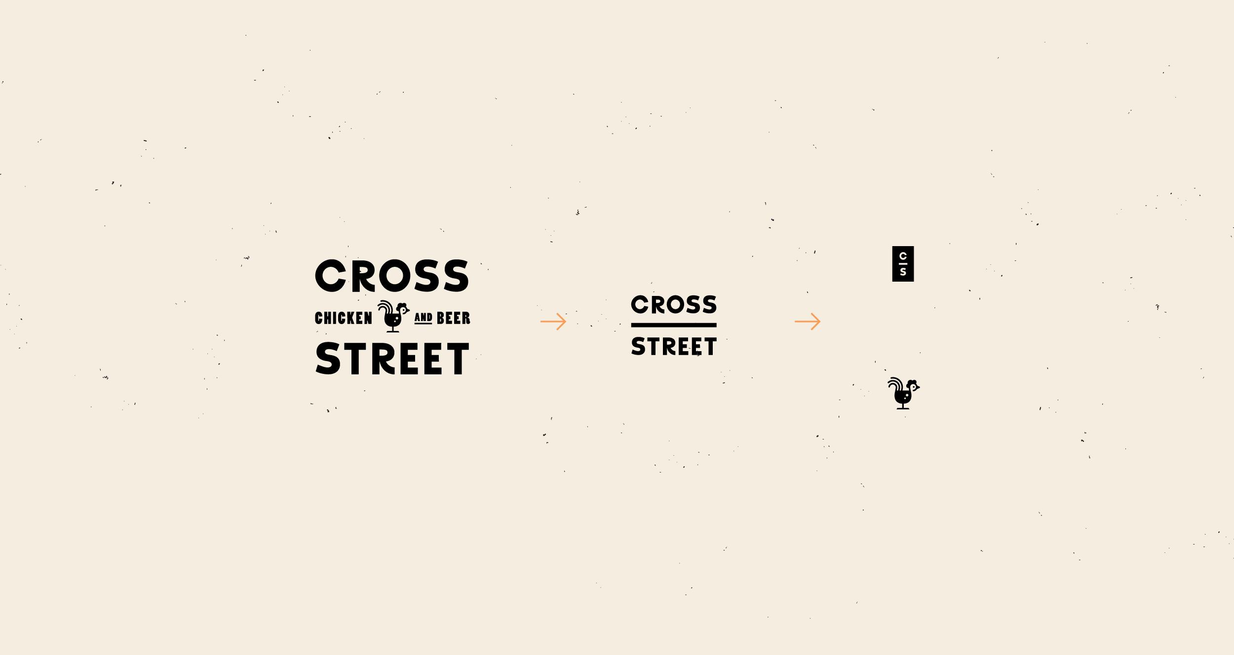 Cross Street chicken and beer restaurant branding by Meiwen See